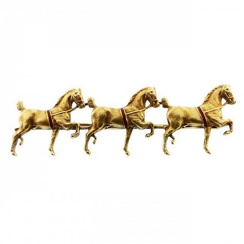 Sloan & Co 14K Gold & Enamel Three Horse Pin
