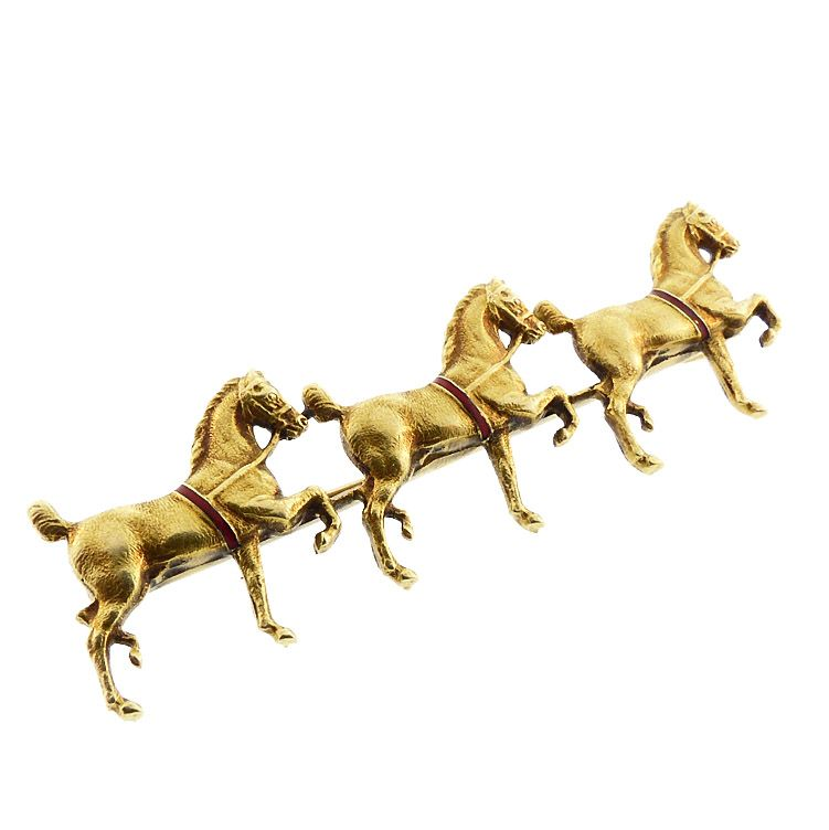 Sloan & Co 14K Gold & Enamel Three Horse Pin