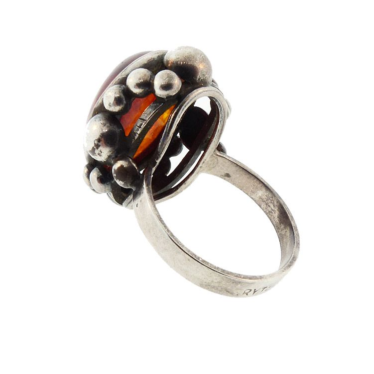 Silver & Baltic Amber Polish Art Deco Style Ring