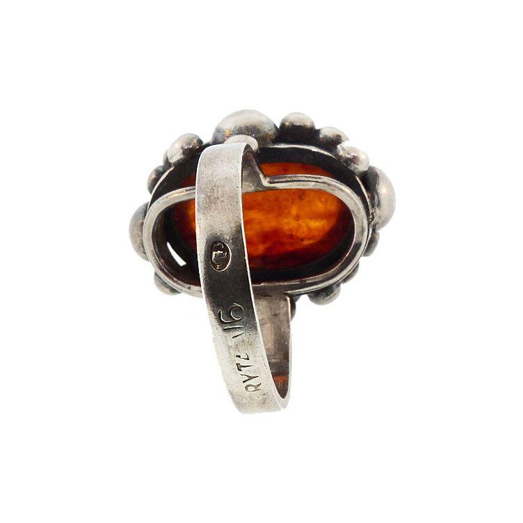 Silver & Baltic Amber Polish Art Deco Style Ring