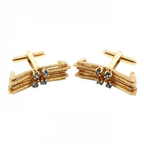 Modernist 14K Gold Sapphire Cufflinks