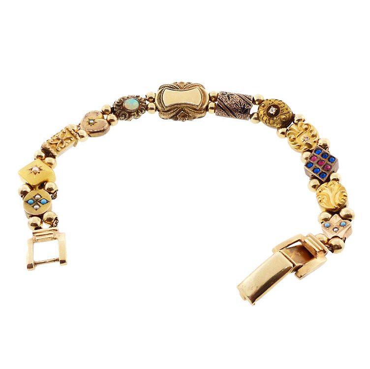 Victorian 10K & 14K Gold Opal Diamond Pearl Turquoise Slide Bracelet