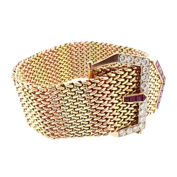 Retro 18K Gold Mesh, Ruby & Diamond Buckle Bracelet