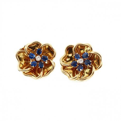 18K Gold, Diamond & Sapphire Flower Earrings