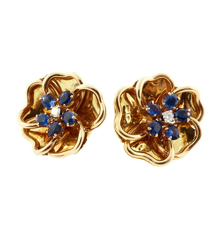 18K Gold, Diamond & Sapphire Flower Earrings
