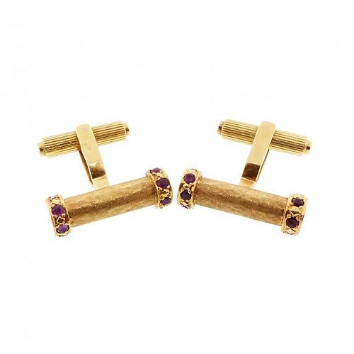 Vintage 18K Yellow Gold & Ruby Baton Cufflinks