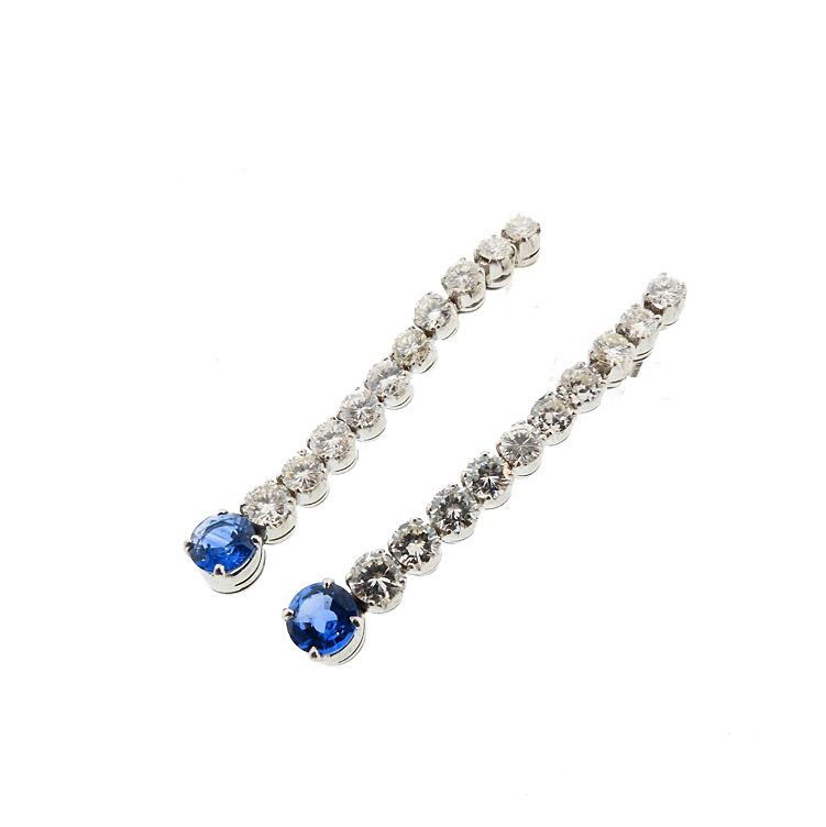 Art Deco Style Platinum Diamond Sapphire Earrings