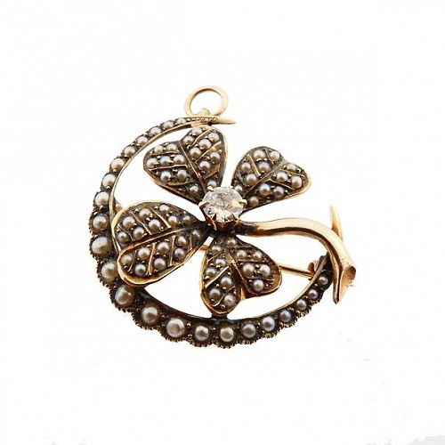 Victorian Gold Seed Pearl Diamond Clover & Crescent Honeymoon Pendant