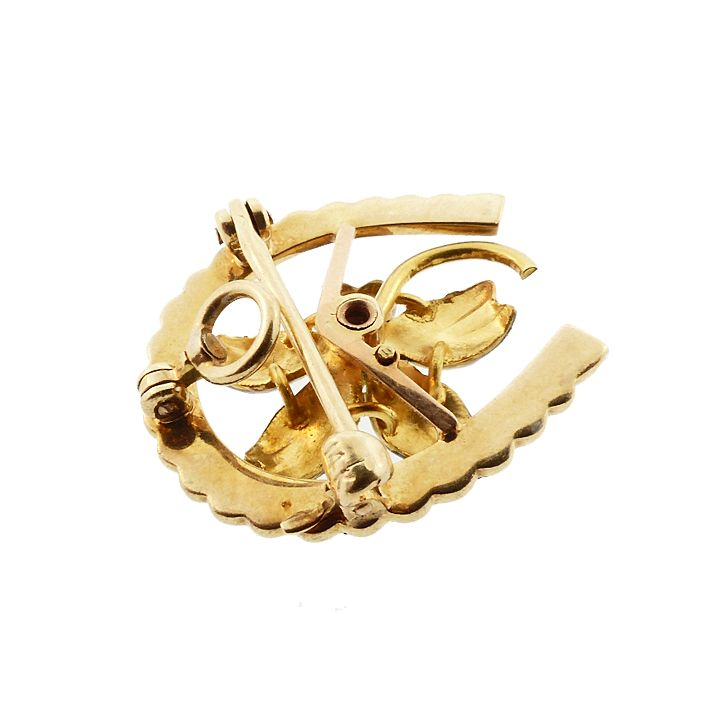 Art Nouveau 14K Gold Enamel Diamond Pearl Violet & Horseshoe Pendant