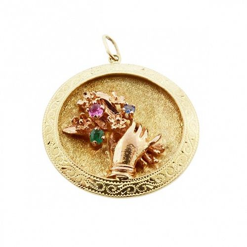 Victorian 18K Gold Ruby Emerald Sapphire Hand & Bouquet Pendant Charm