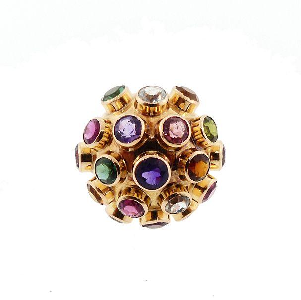 H Stern 18K Gold & Multicolored Gemstone Sputnik Ring