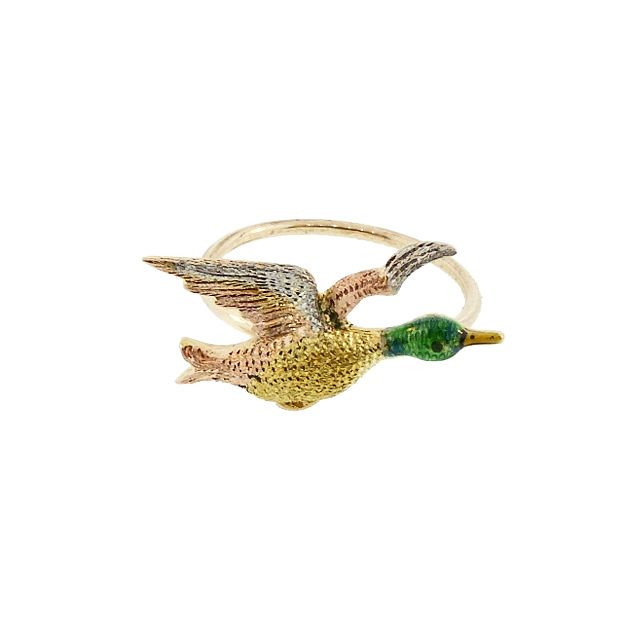 Multicolored 15K Gold, Platinum & Enamel Mallard Duck Conversion Ring