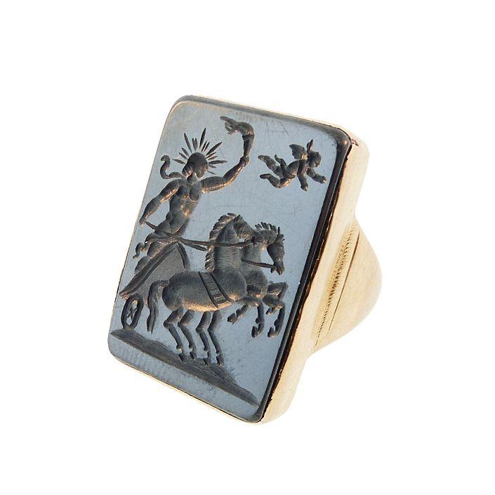 Georgian 18K Gold Hematite Intaglio Apollo & Cupid Ring