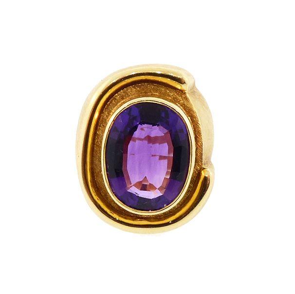 Burle Marx 18K Gold & Amethyst Modernist Ring