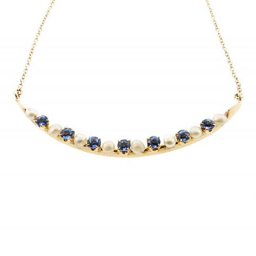 Sapphire & Pearl 14K Gold Cresent Moon Pendant Necklace