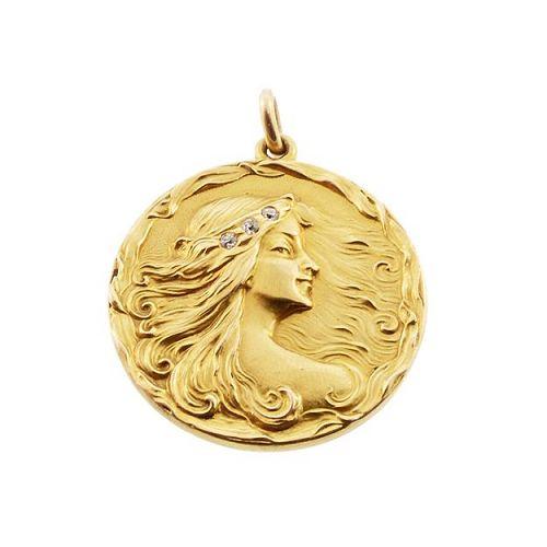 Art Nouveau 14K Gold & Old Mine Cut Diamond Lady Locket