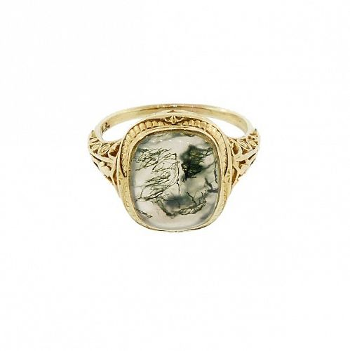 Edwardian 14K Gold Filigree & Moss Agate Ring by Larter