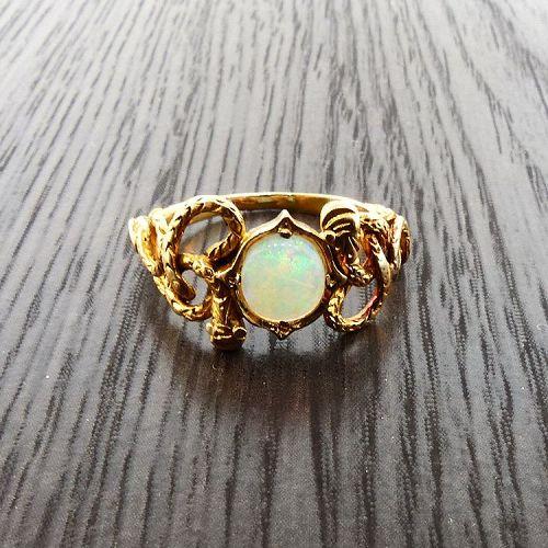 Art Nouveau 14K Gold & Opal Snake Ouroboros Ring
