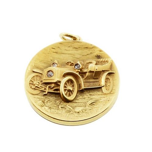 Art Nouveau 14K Gold & Diamond Ford Model B Automobile Locket