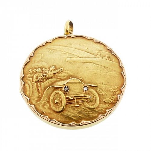 18K Gold & Rose Cut Diamond Early Automobile & Airplane Scenic Locket