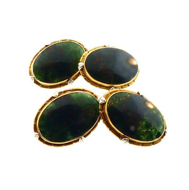 Edwardian 18K Gold, Platinum & Bloodstone Double-Sided Cufflinks