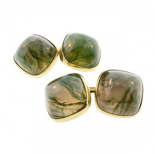 Art Deco 14K Gold & Moss Agate Cabochon Cufflinks