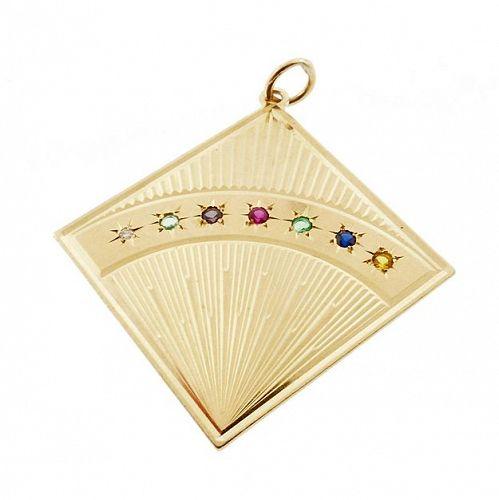 Vintage 14K Gold & Gemstone �DEAREST� Acrostic Charm Pendant