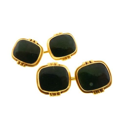 Art Deco 14K Gold & Dark Green Jasper Cufflinks