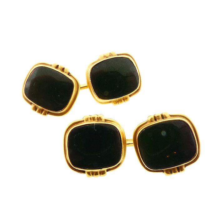 Art Deco 14K Gold & Dark Green Jasper Cufflinks