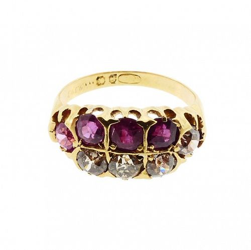 Victorian 18K Gold Diamond & Red Spinel Half-Hoop Ring
