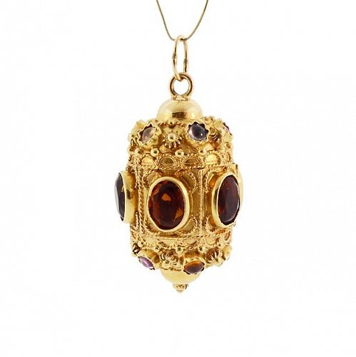 Etruscan 18K Gold Citrine Tourmaline Moonstone Amethyst Fob Charm