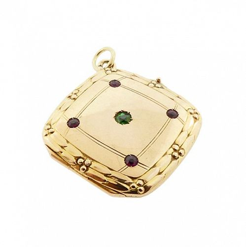 Edwardian 14K Gold, Ruby & Demantoid Garnet Square Locket