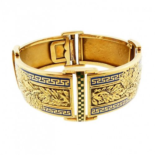 French Victorian 18K Gold & Champleve Enamel Hinged Bangle Bracelet