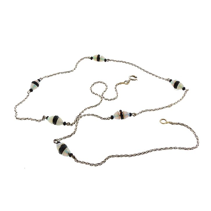 French Art Deco 18K Gold, Opal & Onyx Station Chain Necklace