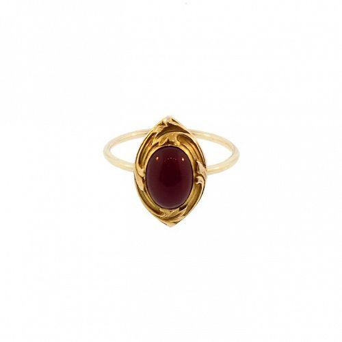 Art Nouveau 14K Gold & Carnelian Cabochon Conversion Ring