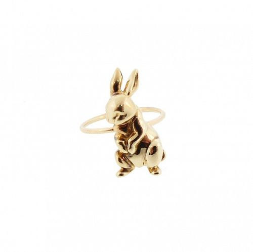 14K Gold Bunny Rabbit Conversion Ring