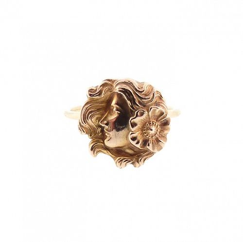 Art Nouveau 14K Gold Floral Maiden Conversion Ring