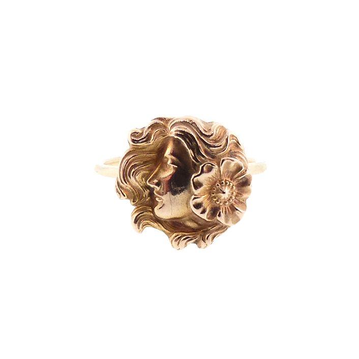 Art Nouveau 14K Gold Floral Maiden Conversion Ring