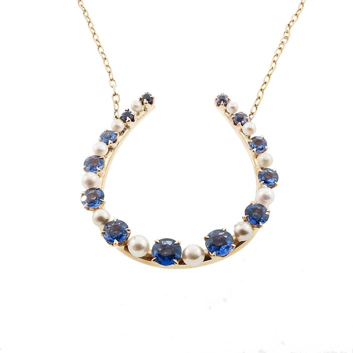 14K Gold, Sapphire & Pearl Horseshoe Good Luck Necklace