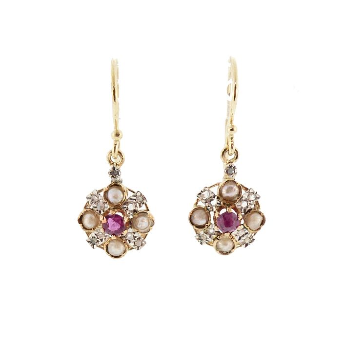 18K Gold, Platinum, Ruby, Rosecut Diamond & Pearl Drop Earrings