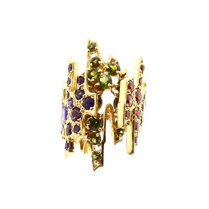 H Stern 18K Gold, Amethyst, Garnet & Peridot Brutalist Ring