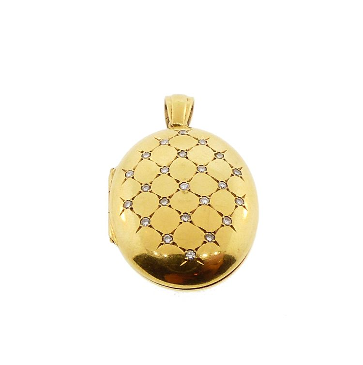 Vintage English 18K Gold & Diamond Resille Locket