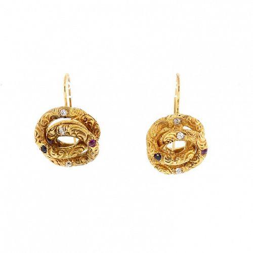 Victorian 18K Diamond, Ruby & Sapphire Loveknot Earrings