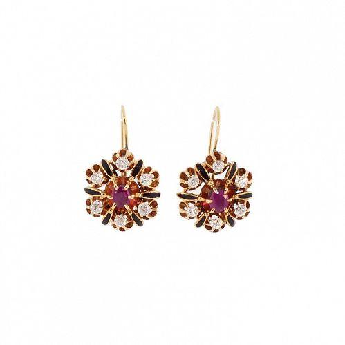 Victorian 14K Gold, Ruby, Diamond & Enamel Earrings