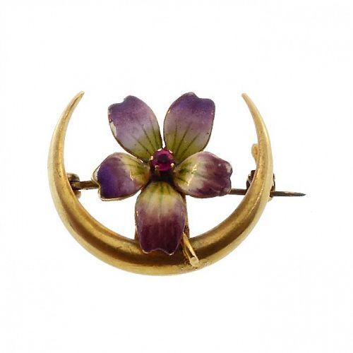 Art Nouveau 14K Gold, Enamel & Ruby Violet Honeymoon Pin