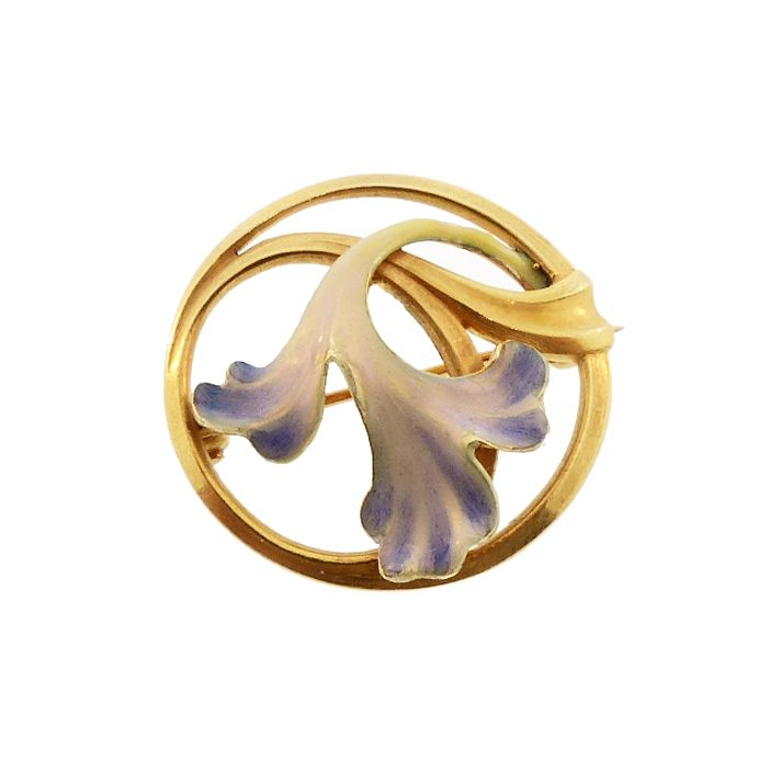 Art Nouveau 14K Gold & Enamel Orchid Blossom Circle Pin