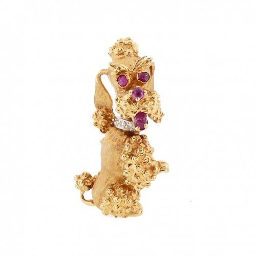 Vintage 14K Gold, Diamond & Ruby Begging Poodle Brooch