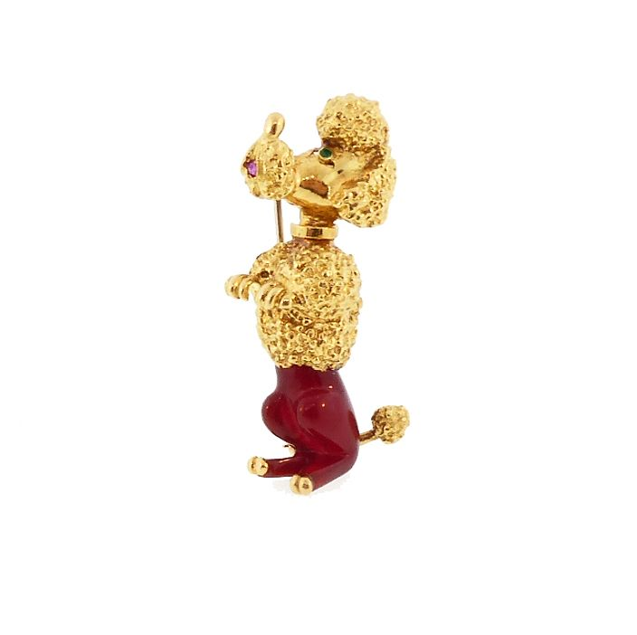 Vintage French 18K Gold, Carnelian, Ruby & Emerald Poodle Pin