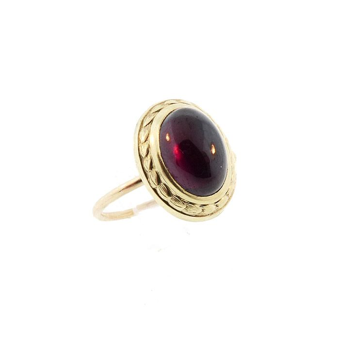Victorian 14K Gold & Garnet Cabochon Conversion Ring