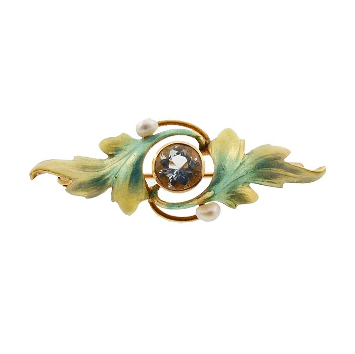 Art Nouveau 14K Gold, Enamel & Aquamarine Pin by Krementz